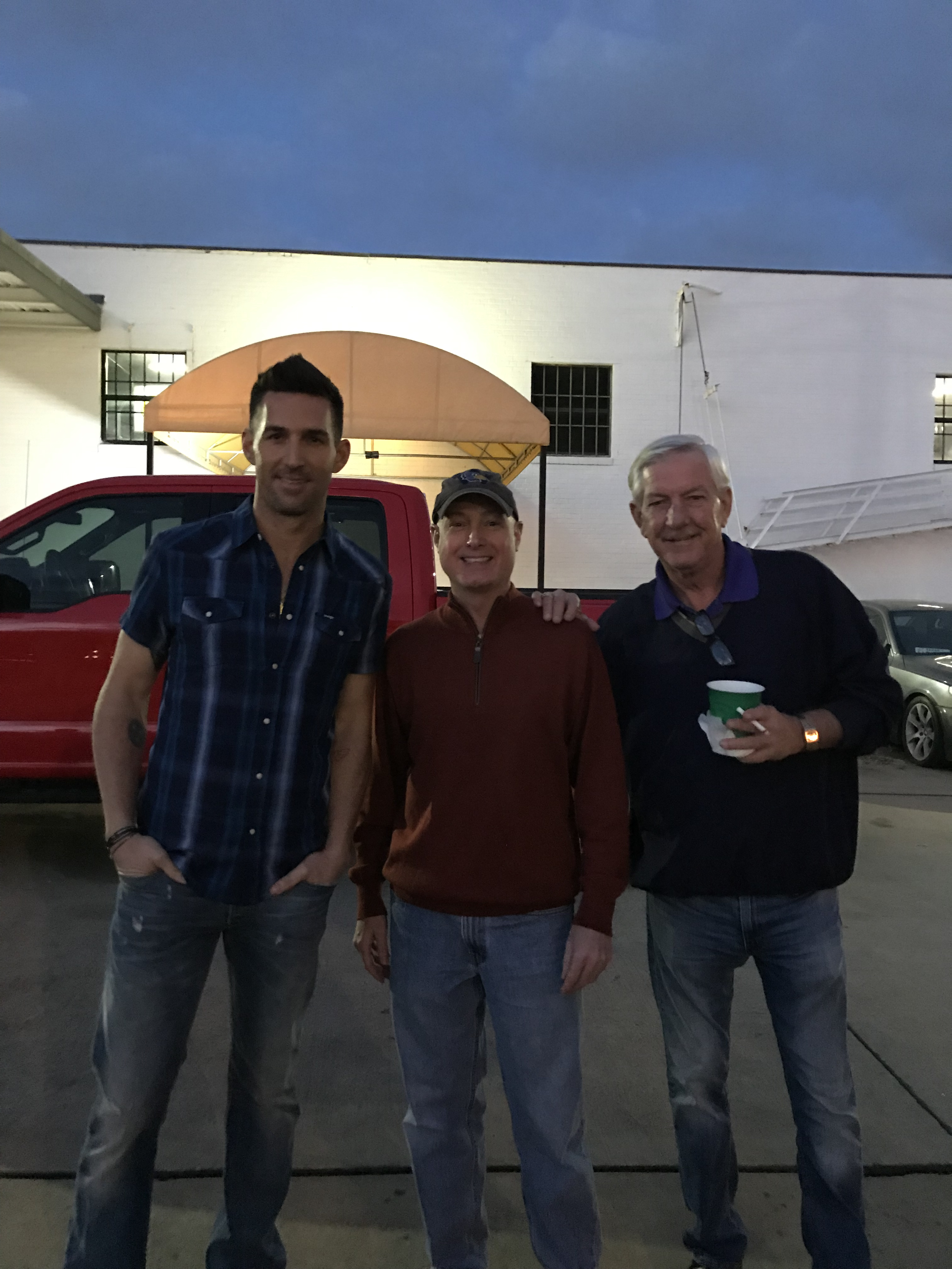 Country star Jake Owen with George and Tommy during production for the 2019 Texas Ford Truck Month TV ad.